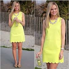 sold nwt j crew factory scalloped shift dress neon yellow