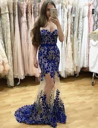 buy mermaid sweetheart floor length royal blue tulle prom dress