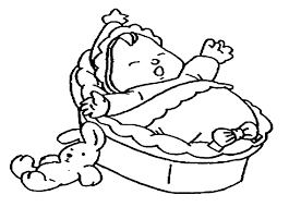 simple baby jesus in a manger coloring page from baby coloring