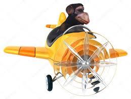 fun cartoon monkey on airplane u2014 stock photo julos 80531808