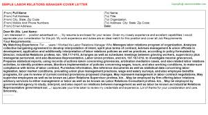 labor relations manager cover letter