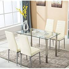 Dining Room Sets With Fabric Chairs by Amazon Com Vecelo Dining Table With 4 Chairs Silver Kitchen
