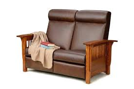 mission style leather reclining sofa craftsman style leather