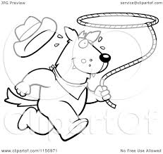 cartoon clipart of a black and white rodeo wolf running with a