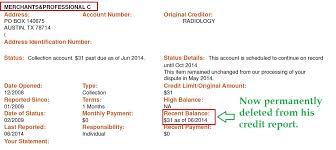 bureau professionel merchants and professional credit bureau inc collection deleted