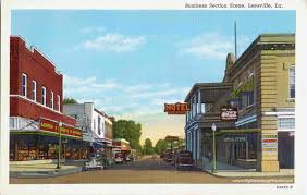 Louisiana travel business images Leesville louisiana business section street scene vintage jpg
