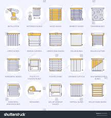 window blinds shades line icons various stock vector 660256696