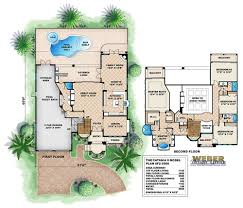 Split Plan by Luxury Beach House Plan With 2 Stories Covered Lanai Pool