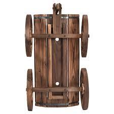 amazon com giantex wood wagon flower planter pot stand w wheels
