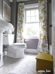 Really Curtains Really Gray And Yellow Bathroom With Vintage Style Floral