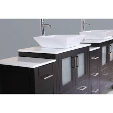 84 Bathroom Vanity Contemporary 84 Inch Espresso Finish Double Square Sink Bathroom