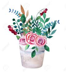 bouquets of flowers watercolor bouquets of flowers in pot rustic floral set in shabby