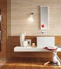bathroom dark brown wood mirror white waterfall shower white