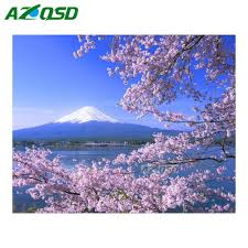 online get cheap cherry blossom mosaic aliexpress com alibaba group azqsd diy 3d diamond painting home decor mount fuji and cherry blossoms full round diamond embroidery