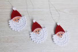 crochet santa claus crochet ornament set of 3