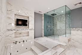 Marble Bathroom Designs by White Marble Bathrooms Square Brown Stained Wooden Frame Glass