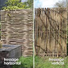 Brise Vue Persienne Bois panneau noisetier tressage horizontal ou vertical noisetier