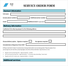 Document Template Excel Sle Service Order Template 6 Free Word Excel Pdf Documents