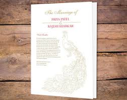 Peacock Wedding Programs Peacock Wedding Programs Etsy