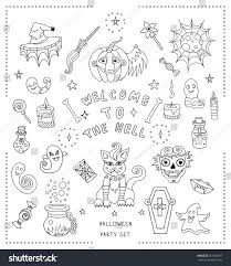 halloween stuff on black background set hand drawn halloween coloring book stock vector 333520697