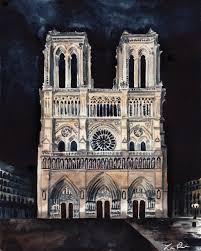 notre dame art notre dame painting paris art paris painting