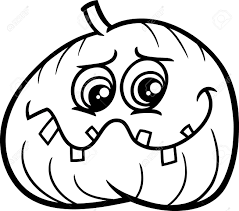 black and white cartoon illustration of halloween jack lantern
