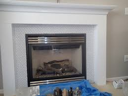 Tiled Fireplace Wall by Penny Tile Around Fireplace Google Search New House