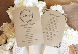 fan programs for weddings printable wedding fan program diy wedding programs kraft