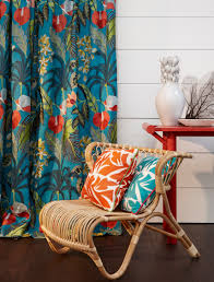 Tropical Home Decor Fabric Hibiscus Collection Featuring Cushions In Frida Print Palms