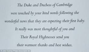 duke and duchess of cambridge produce special thank you cards