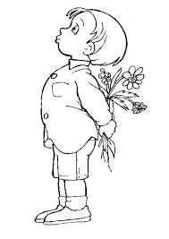 coloriage fête des mères garçon offre des fleurs