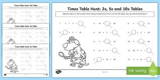 tables missing numbers activity sheet worksheet