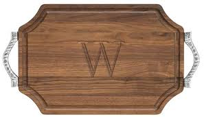 large personalized walnut cutting board pewter handles