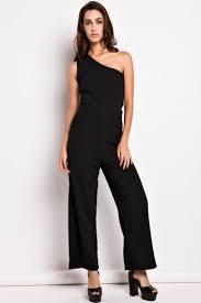 leg jumpsuit black one shoulder wide leg jumpsuit oasap com
