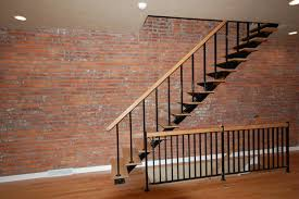 interior design comfy black iron straight staircase with wooden