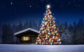 fondos de pantalla navidad fondo de pantalla arbol de navidad casita noche hd
