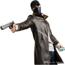 kukucos watch dogs leather jacket cosplay costume trench coat