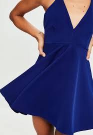 blue scuba halter neck skater dress missguided