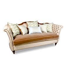 Beige Tufted Sofa by Velvet Tufted Sofa Modern Damask Fabric Haute House Home