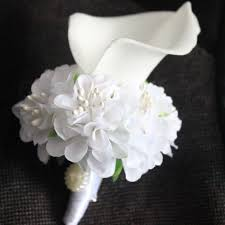 flower corsage 1 white blue pink calla flower corsage groom groomsman