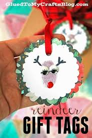 thumbprint reindeer gift tags kid craft glued to my crafts