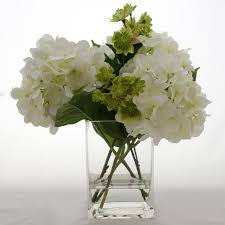 white hydrangeas silk white hydrangea and greenery arrangement flovery