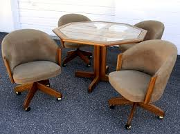Dining Table And Chairs On Wheels Dining Room Chairs With Casters Home Design Ideas And Pictures