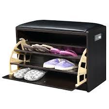 wood shoe storage cabinet bench ottoman closet shelf entryway pu