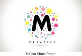 vector of m letter splash logo yellow dots and bubbles letter