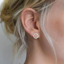circle stud earrings dimple hammered circle stud earrings