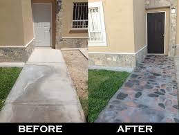 front yard spray painted cement walkway idea taken from here http