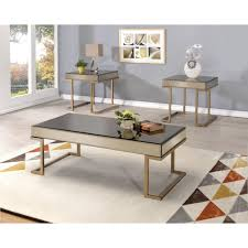 boice coffee table in smoky mirror and champagne by acme 81635