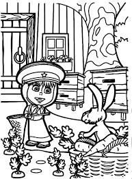 masha bear naughty rabbit coloring pages masha