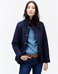 marine navy newdale womens classic quilted jacket joules uk